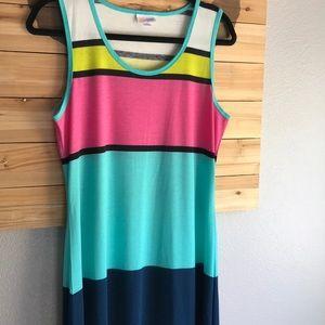 LuLaRoe    Striped Dani Sleeveless Maxi Dress